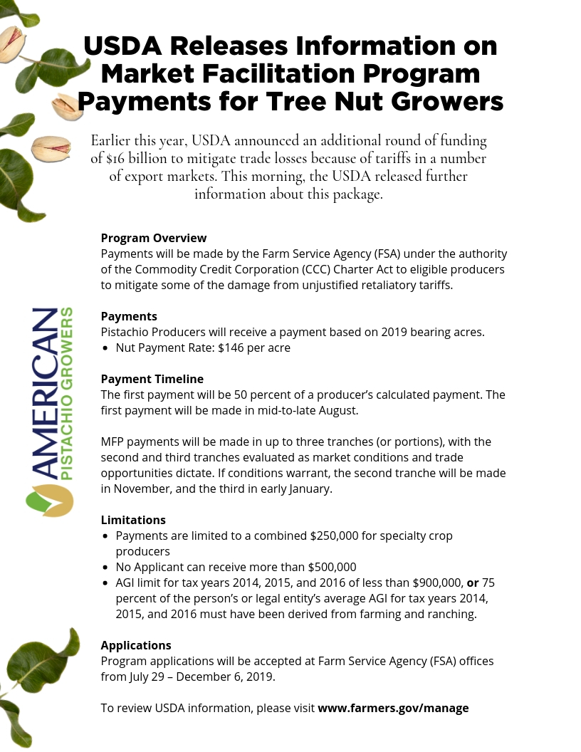 USDA Information on Market Facilitation Program Payments for Tree Nut Growers